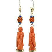 Chinese Carved Momo Coral 14K Buddha Dangle Earrings