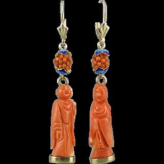 Chinese Carved Momo Coral 14K Buddha Dangle Earrings
