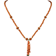 14K Chinese Carved Momo Coral Necklace  18.5""