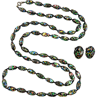 """Mid Century Confetti Foil Glass Necklace and Earrings Set 45"""""""