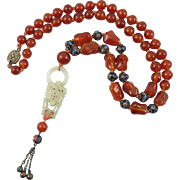 """Chinese Hetian Jade Carnelian and Enamel on Silver Bead Necklace 26"""""""