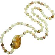 "Sardonyx Agate Carved Monkey Necklace 32"""