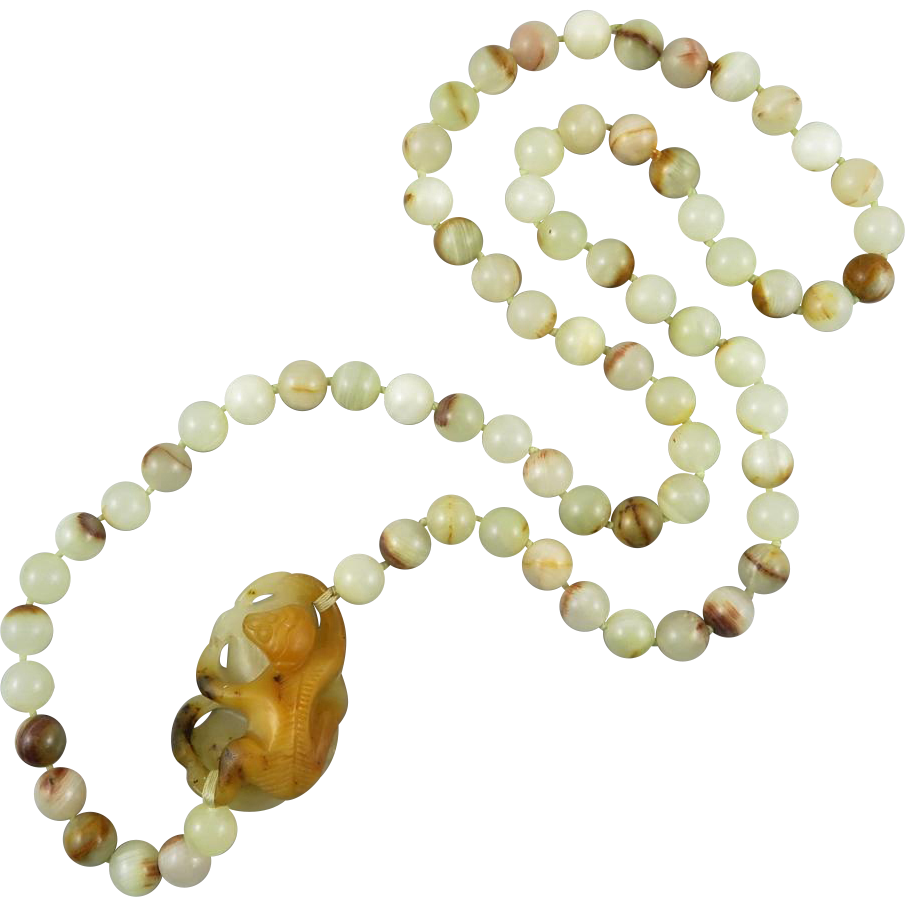 Sardonyx Agate Chinese Asian Carved Monkey Necklace 32""