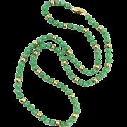 "14K Natural Chrysoprase Bead Necklace 28"""