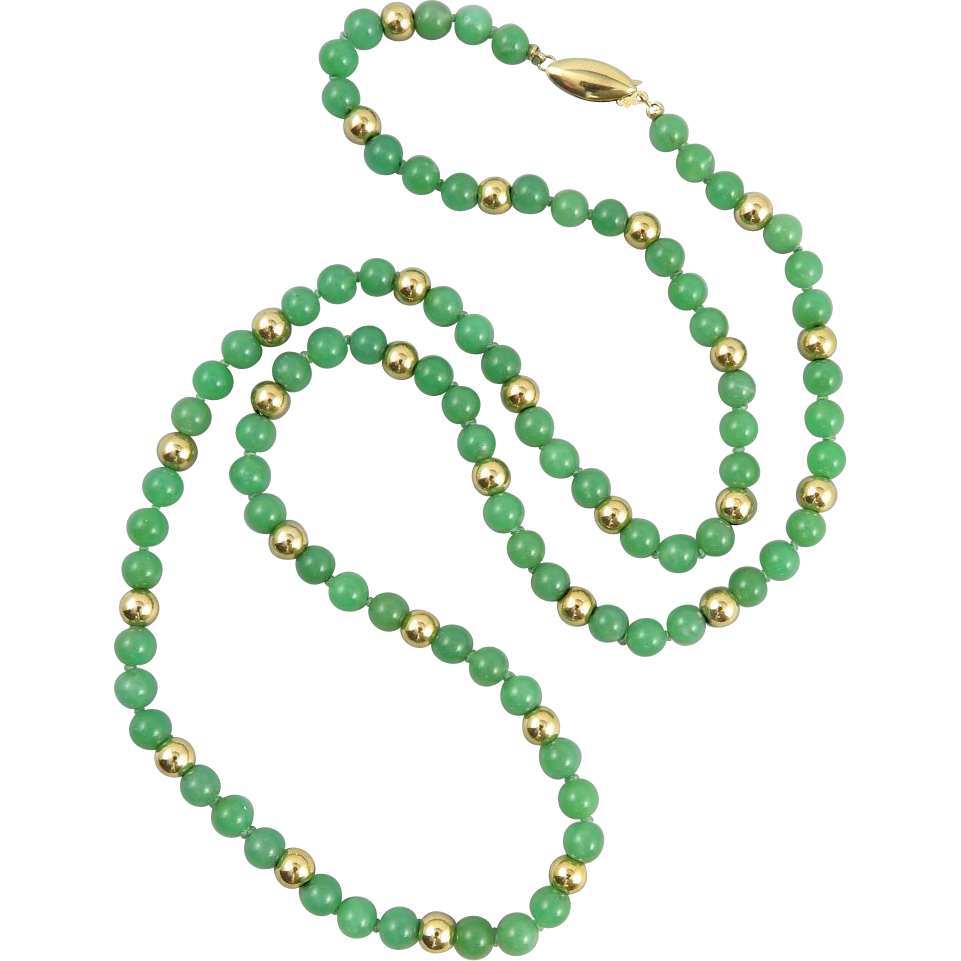 14K Natural Chrysoprase Bead Necklace 28""