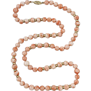 """14K Carved and Smooth Pink Coral Bead Necklace 23"""""""