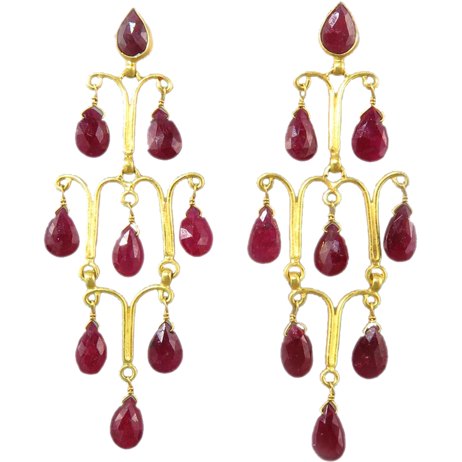 Red Chandelier India: 22kt Gold And 13ctw Ruby Chandelier Indian Asian Mughal