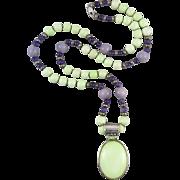 "Sterling Veriscite   Purple Aventurine   Amethyst Pendant Necklace 31"""