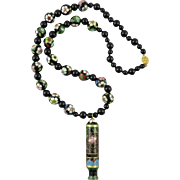 Chinese Cloisonne Enamel Asian Whistle Necklace 29""
