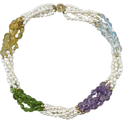 Sparkling 5 Strand Peridot | Amethyst | Topaz | Citrine and Freshwater Cultured Pearl Necklace 19.5""