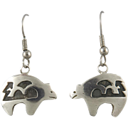 Southwestern Sterling Silver Bear Dangle Earrings