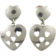 Vintage Taxco Cut Out Heart Dangle Sterling Silver Earrings