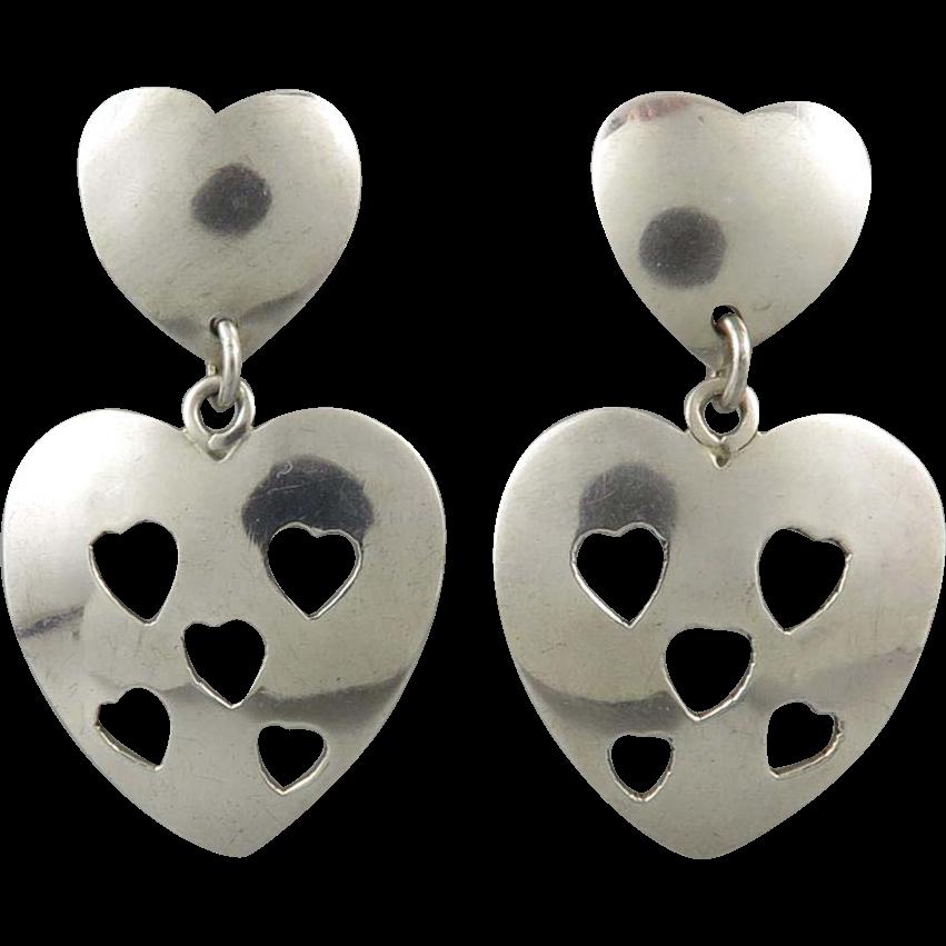 Vintage Taxco Cut Out Heart Dangle Sterling Silver Earrings