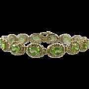 10tcw Large Peridot 14K Gold Bracelet