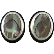 Puffy Sterling and Abalone Button Style Earrings