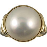 14K 15mm Mabe Pearl Ring Late Art Deco Period