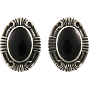 Oval Black Onyx Sterling Silver Earrings