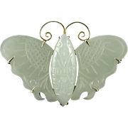 Chinese Carved Hetian Jade Asian Lucky Moth Brooch