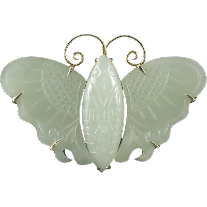Chinese Carved Hetian Jade Lucky Moth Brooch