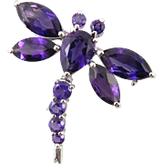 Amethyst and Sterling Silver Dragon Fly Brooch