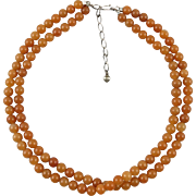 Double Strand Red Aventurine Necklace 21""
