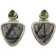 Black Jasper and Peridot Door Knocker Sterling Silver Earrings