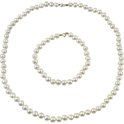 14K Freshwater Cultured Pearl Necklace and Bracelet Set