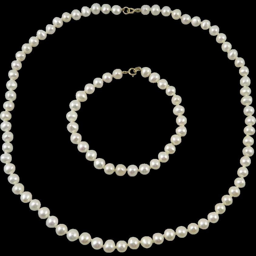 14K Freshwater Cultured Pearl Necklace and Bracelet Set