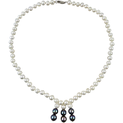White and Black Cultured Pearl Necklace 17""
