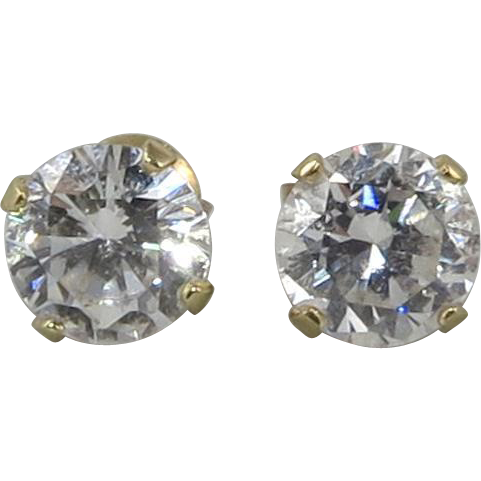 2ctw 14K Yellow Gold CZ Earrings