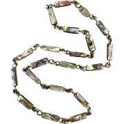 Vintage Alpaca Abalone Chain Link Style Necklace 23""