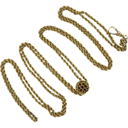 Victorian 14K Garnet Slide on Gold Fill Guard Chain 57""