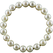 Large 14K Akoya Cultured Pearl Circle Brooch