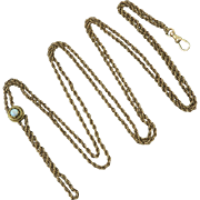 Victorian 14K Opal Slide on Gold Fill Guard Chain 62""