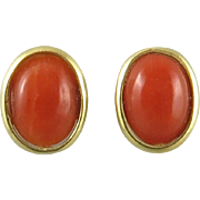 18K Italian Red Coral Button Style Earrings