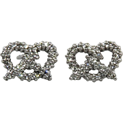 18K White Gold Diamond Pave Pretzel Earrings by Roberto Coin