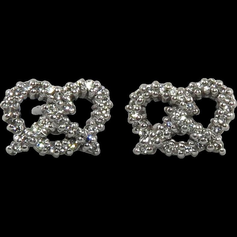 18K White Gold Diamond Pave Pretzel Earrings by Roberto Coin