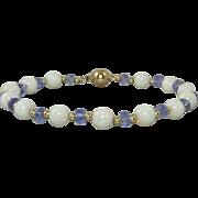 13ctw Opal and Tanzanite 14K Gold Bracelet