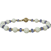 13ctw Opal and Tanzanite 14K Gold Bracelet