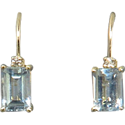 10K Aquamarine and Diamond Lever Back Earrings 1ctw