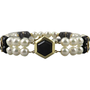 14K Double Strand Akoya Cultured Pearl and Black Onyx Bracelet