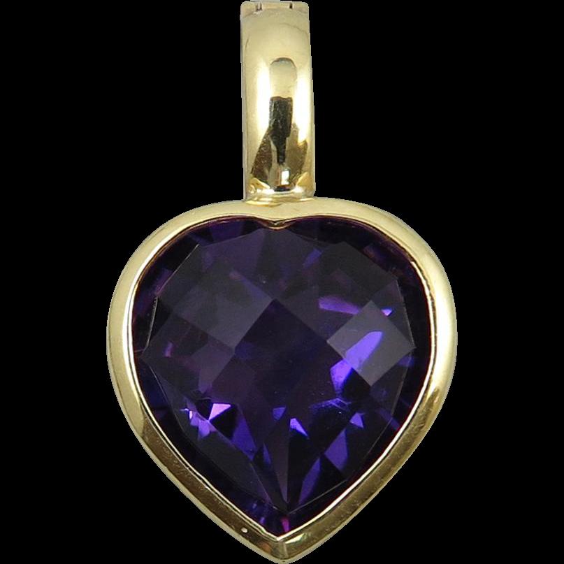 7ctw Amethyst Heart 14K Enhancer Pendant