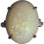 Large 7ct Opal and 18K White Gold Ring