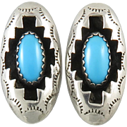 Navajo Turquoise Shadow Box Earrings Sterling Silver Signed