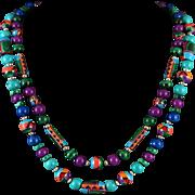 "2 Strand Inlay Bead Necklace with Lapis Malachite Turquoise Sugilite 23"""