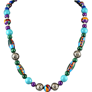 """Southwestern Inlay Bead and Colorful Gemstone Necklace 24"""""""