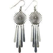 Sleek Concho and Fringe Sterling Southwestern Earrings