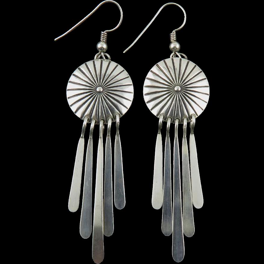 Sleek Concho and Fringe Sterling Southwestern Earrings