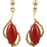 Natural Red Aka Coral and 14K Earrings