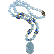 """Chinese Asian Carved Aquamarine and 18K Vermeil Pendant Necklace 20"""""""